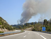Wild forest fire along highway Stock Photos