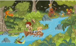 Wild Forest With Cartoon Children On A Boat. Royalty Free Stock Images