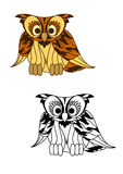 Wild forest yellow owl with brown plumage Stock Image