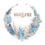 Wild and Free Boho Wreath Watercolor Illustration Stock Images