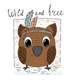 Hand drawn vector illustration with Cute vector owl. Wild and free card. Hand drawn vector illustration with Cute vector owl Stock Photos