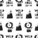 Wild and free - Cute hand drawn nursery seamless pattern in scandinavian style. Monochrome  illustration.  Royalty Free Stock Photos