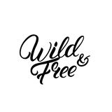 Wild and free hand written lettering quote. vector illustration