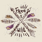Wild and Free poster. Stock Images