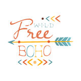 Wild And Free Print Ethnic Boho Style Element, Hipster Fashion Design Template In Blue, Yellow And Red Color With Arrow Stock Photo