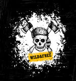 Wild And Free Skull Wearing Coonskin Hat With Two Crossed Axses Illustration On Rough Grunge Background. Royalty Free Stock Photo