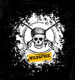 Wild And Free Skull Wearing Coonskin Hat With Two Crossed Rifles Illustration On Rough Grunge Background Stock Photos