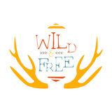 Wild And Free Slogan Ethnic Boho Style Element, Hipster Fashion Design Template In Blue, Yellow And Red Color With Royalty Free Stock Photos
