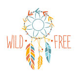 Wild And Free Slogan Ethnic Boho Style Element, Hipster Fashion Design Template In Blue, Yellow And Red Color With Dream Royalty Free Stock Photos