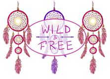 WILD and FREE text with handdrawn dreamcatchers,arrows. VECTOR illustration. Pink and purple dreamcatchers. vector illustration
