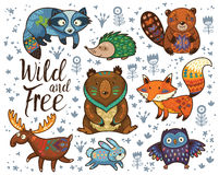 Wild and free. Woodland tribal animals vector set Royalty Free Stock Image