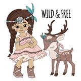 WILD FREEDOM Pocahontas Indian Princess Vector Illustration Set stock illustration