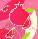 Wild fresh Pomegranate fruit summer retro pattern Stock Images