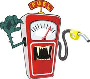 Wild fuel. Cartoon scarry petrol pump Symbolizes the high prices for fuel Stock Images