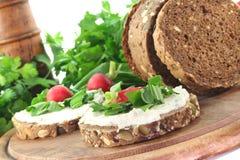 Wild garlic Bread. With  Cream cheese, wild garlic and radishes Stock Photography