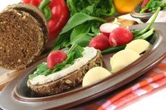 Wild garlic Bread. With Cream cheese, wild garlic and radishes Stock Image