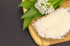 Wild garlic with bread and butter Stock Photo