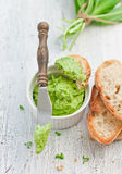 Wild garlic butter. With bread royalty free stock image