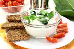 Wild garlic curd. A bowl of wild garlic curd with bread and tomato Royalty Free Stock Image