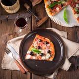 Wild garlic - margarita pizza Royalty Free Stock Photo