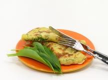 Wild garlic pancakes Royalty Free Stock Image