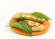 Wild garlic pancakes Stock Image