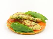 Wild garlic pancakes Royalty Free Stock Photo