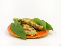 Wild garlic pancakes Stock Photo
