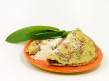 Wild garlic pancakes Royalty Free Stock Photos