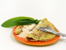 Wild garlic pancakes Royalty Free Stock Photography