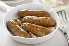 Wild garlic and parsley sausages Stock Photo