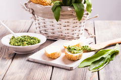 Wild garlic pesto. On french bread, healthy appetizer Royalty Free Stock Photos
