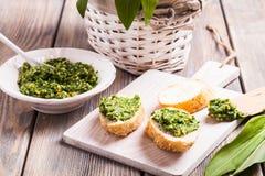 Wild garlic pesto Royalty Free Stock Images