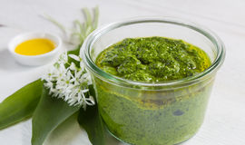 With wild garlic pesto in a glass Stock Photography