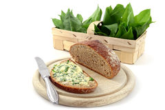 Wild garlic ramson in springtime. Bunch of wild garlic ramson and bread slice with ramson butter and antique silverware on isolated white background Stock Photos