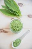 Wild garlic salt in a bowl Stock Images