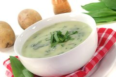 Wild garlic soup Royalty Free Stock Images