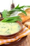Wild garlic soup Stock Photo