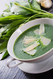 Wild garlic soup with Parmesan Stock Photos