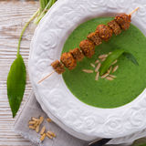 Wild garlic soup with Parmesan Royalty Free Stock Photos