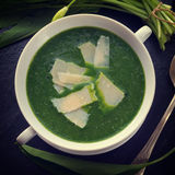 Wild garlic soup with Parmesan Stock Image