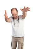 Wild gesticulating doctor Stock Photos