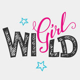 Wild girl hand-lettering t-shirt Royalty Free Stock Photography