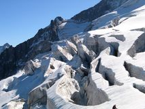 Wild glacier crevasse Stock Photos