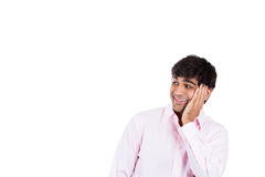 Wild, goofy, crazy, funny, shocked man's face looking to side Royalty Free Stock Images