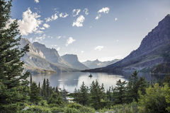 Wild Goose Island in St. Mary Lake - Glacier National Park. View of Wild Goose Island in St. Mary Lake in Glacier National Park, Montana, United States Royalty Free Stock Photography