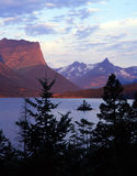 Wild Goose Island (V). Sunrise and Wild Goose Island, in Saint Mary Lake, located on the Going to the Sun Road in Wyoming's Glacier National Park which is part Royalty Free Stock Photography
