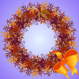 Wild grape wreath and ribbon with bow circle frame. Stock Photo