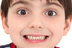 Wild Grin. Adorable caucasian six year old boy close up of wild grin Royalty Free Stock Photography
