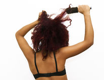 Wild Hair Frustration Royalty Free Stock Photography